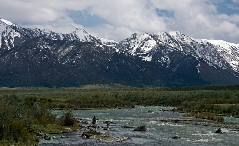 Fishermen on the Madison River in Montana. May 23, 2010  Sheep Mountain in the background.
