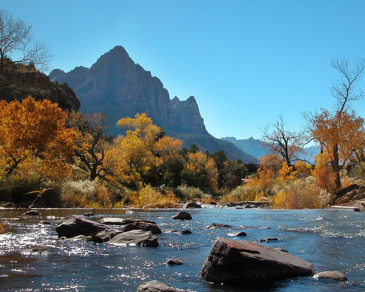 Virgin River flowing through Zion National Park, Fall.