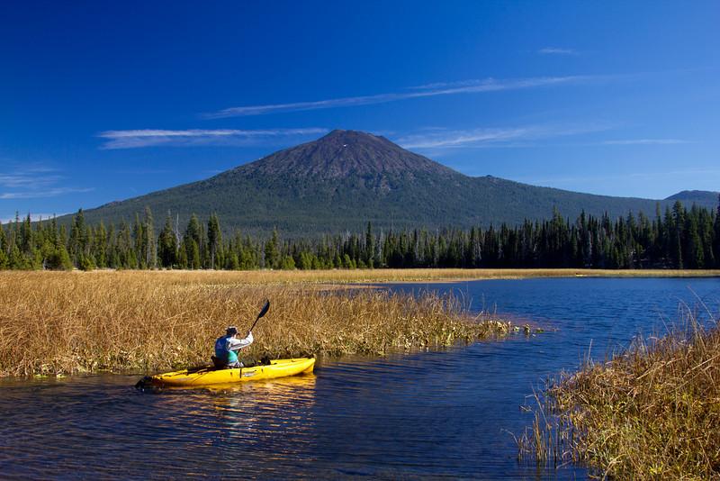Hosmer Lake with kayaker and Mount Bachelor (Oregon). Oct 2010.