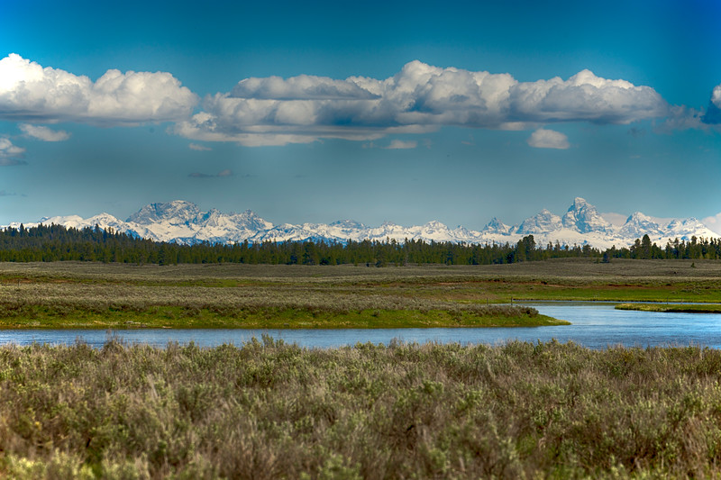 Teton Range (from west) and Henry's Fork River
