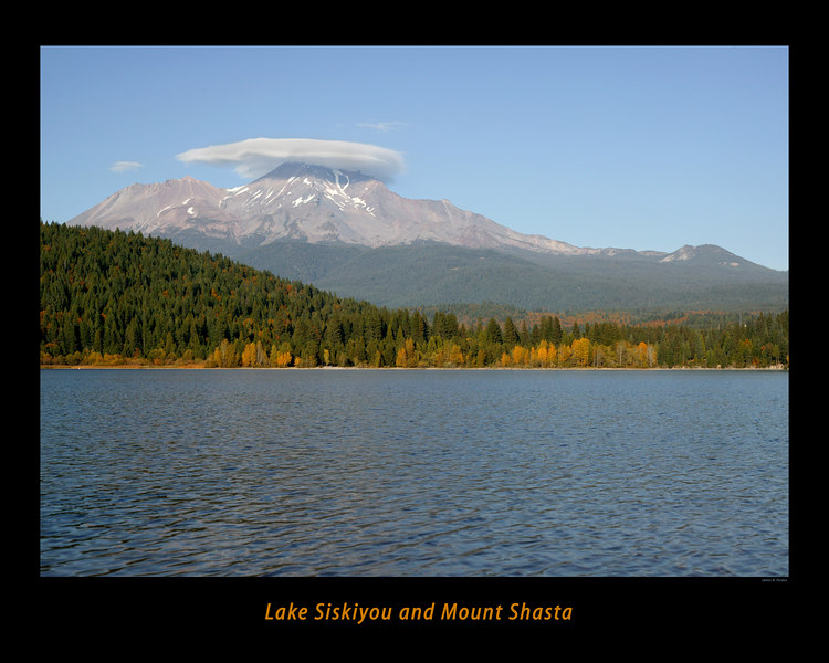 Lake Siskiyou and Mount Shasta in northern California in the Fall.