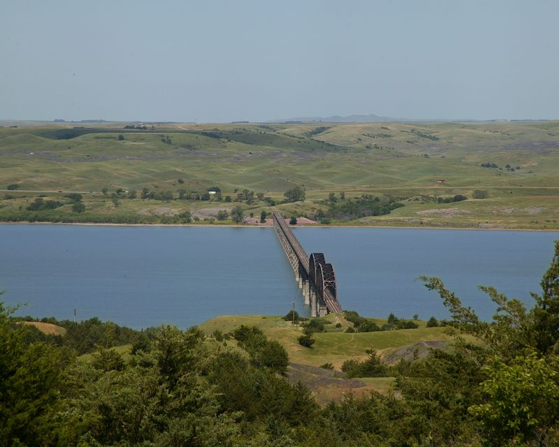 Lewis and Clark Memorial Bridge over Missouri River near Chamberlain, SD on I90.