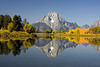 Reflection of Mt. Moran at Oxbow Bend, Grand Tetons National Park, September 26, 2008. Wyoming.