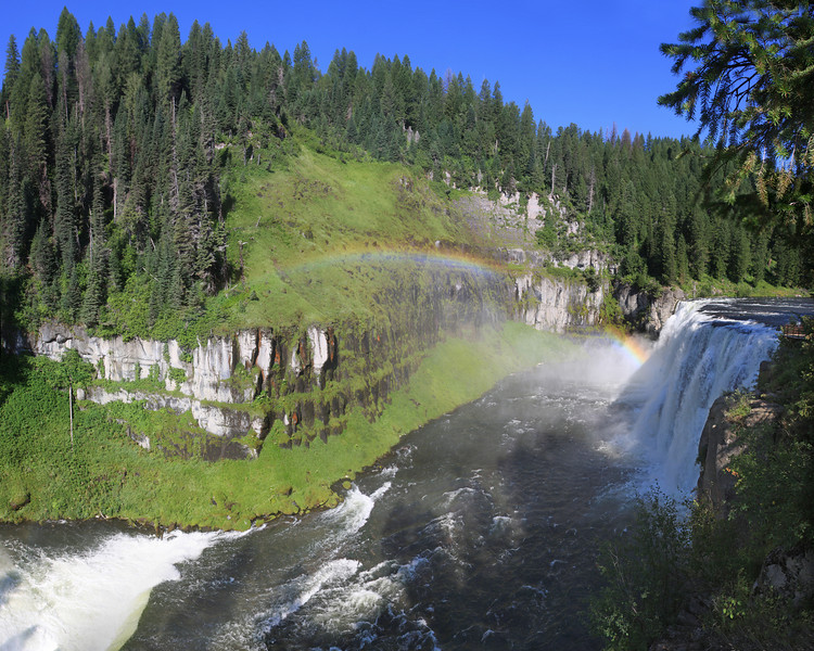 Upper Mesa Falls with Rainbow. High Resolution image (7745 x 6196 pixels) in 20 x 16 perspective. Island Park, Idaho.