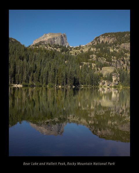 Bear Lake and Hallett Peak in Rocky Mountain National Park, near Estes Park, Colorado.