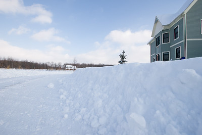 Snowbanks along the driveway
