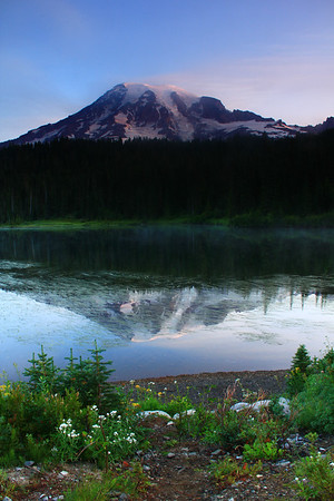 View of Mount Rainier from Reflection Lake at dawn