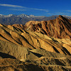Morning light bathes the hills of Golden Canyon
