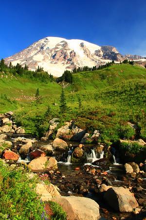 Mount Rainier looms over Edith Creek