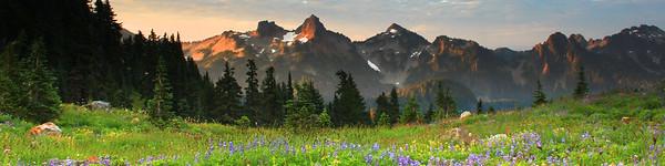 Morning sunrise on Tatoosh Range, Mount Rainier National Park