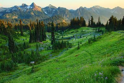 Trail climbing Mount Rainier