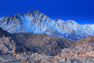 Early dawn light washes over the Sierra Nevada Mountains