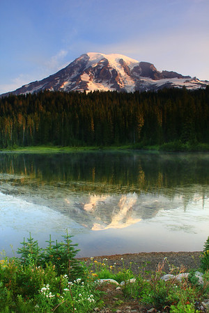 Early morning view of Mount Rainier at Reflection Lake