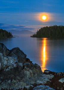 Moon Rise Over Pacific Shore