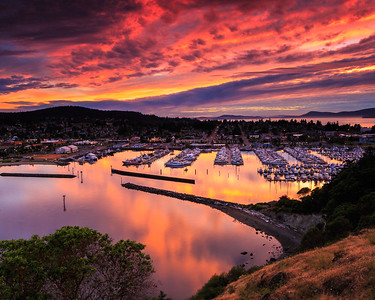 Red Sunset over Harbor