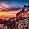 Lighthouse on a Cliff at Sunset, Bass Harbor Head Lighthouse, Maine