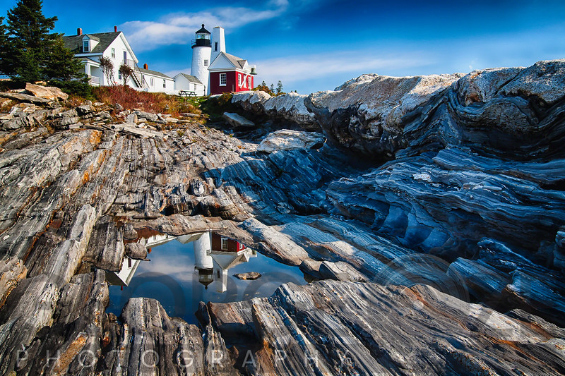View of the Pemaquid Point Lighthouse with Image Reflected in Tidal Pool, Maine