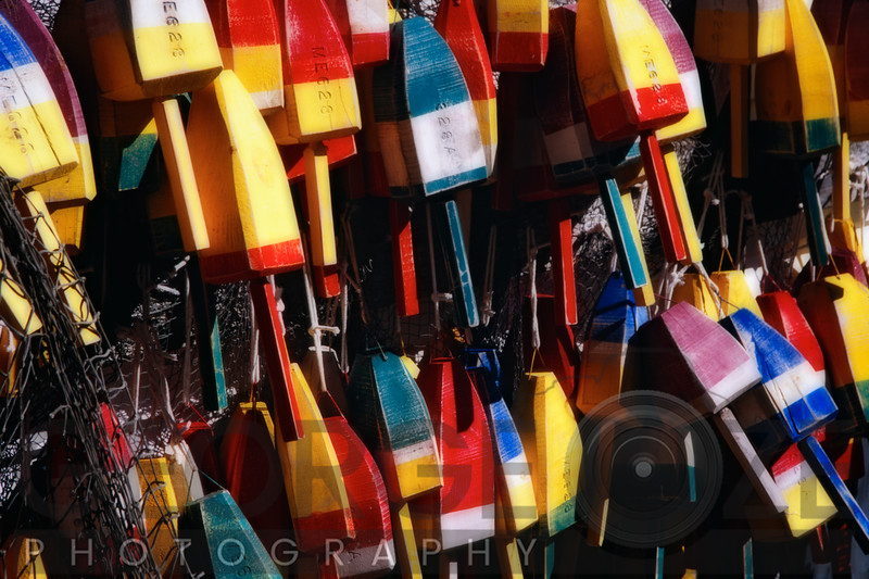 Colorful Lobster Buoys Display in Maine