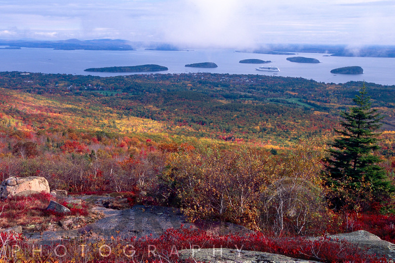 Colorful Autumn Vista  of Bar Harbor as viewed from from Cadillac Mountain, Mt Desert Island, Maine