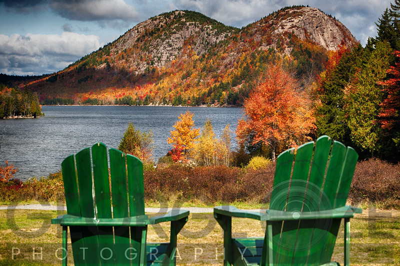 Fall Scenic with Two Adirondack Chars at Jordan Pond, Mt, Desert Island, Acadia National Park, Maine