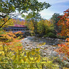 View of a Covered Bridge  through Colorful Fall Foliage, Albany Bridge, Carroll County, New Hampshire
