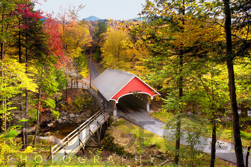 High Angle View of The Flume Covered Bridge, New Hampshire.