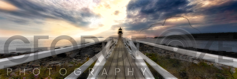 Panoramic View of the the Marshall Point Lighthouse at Sunset, Maine