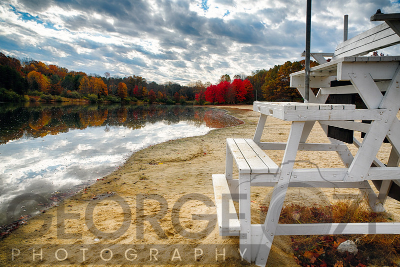 Empty Beach in Autumn, Round Valley Reservoir, Hunterdon County, New Jersey