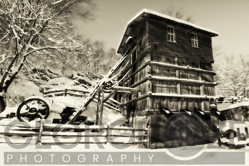 Snow Covered Historic Quarry Building, Clinton Red Mill Village, New Jersey
