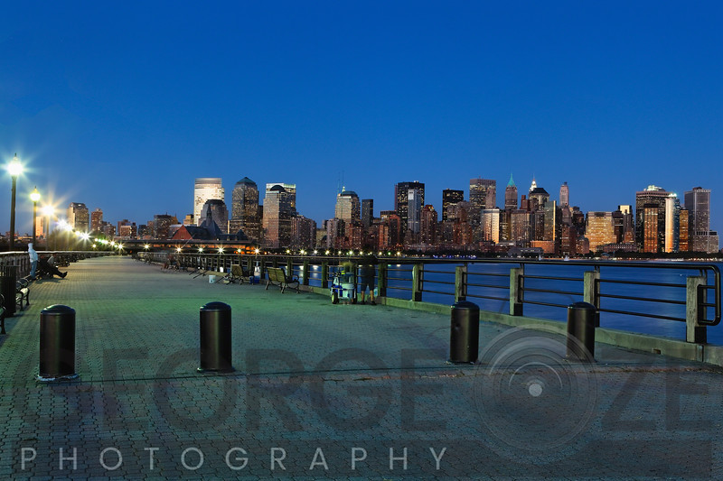 City Skyline of Lower Manhattan at Night, New York