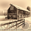 Old American Barn on Snow Covered Land