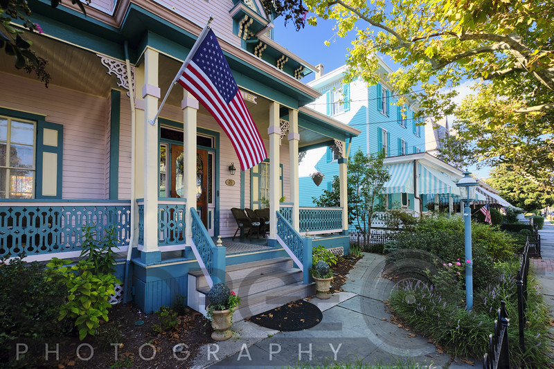 Historic Victorian Style Homes in Cape May on Columbia Avenue, New Jersey