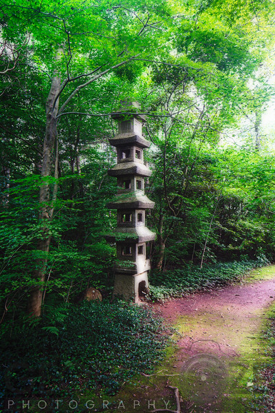 Garden Path with Small Pagoda in the Willowwood Arboretum, Far Hills, Morris County, New Jersey