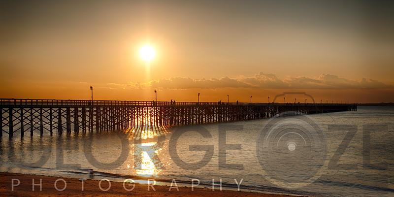 Golden Sunlight over a Wooden Pier, Keansburg, New Jersey, USA