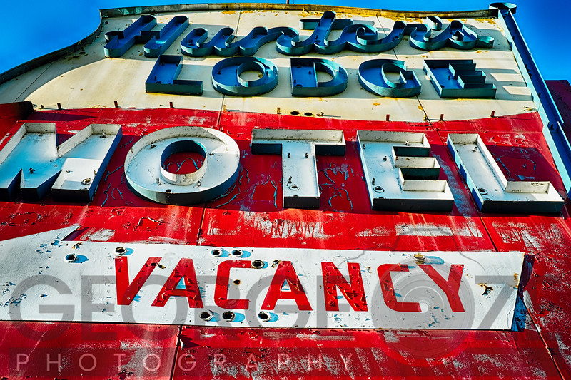 Low Angle View of an Old Dilapidated Neon Sign of a Motel, Rt 46, Columbia, Warren County, New Jersey