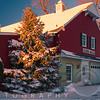 Red Barn During Winter Holiday Season