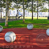 Ball Sculptures in a Park, Pier A Park on  Esplanade, Hoboken, New Jersey