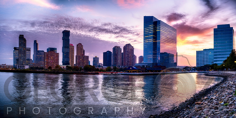 Newport Skyline in Jersey City at Sunset