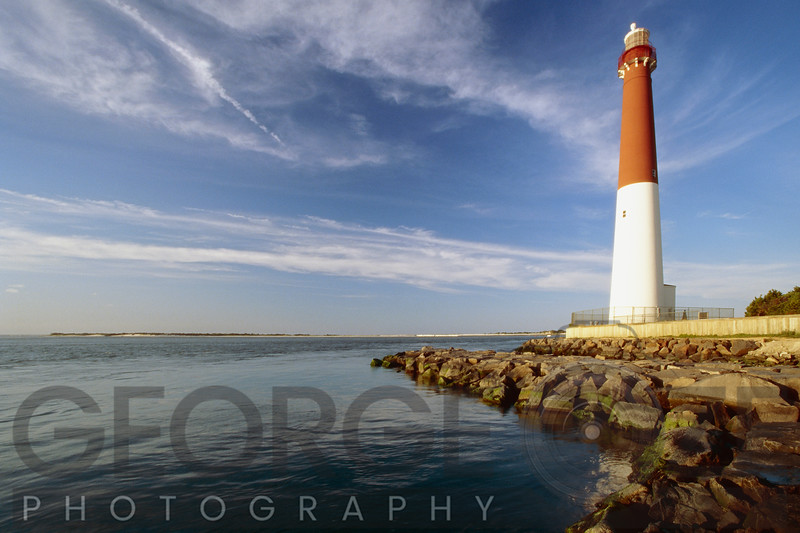 View of a Red and White Lighthouse, Barnegat Lighthouse, Long Beach Island, New Jersey