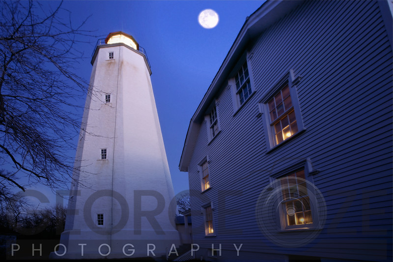 Sandy Hook Lighthouse with Full Moon