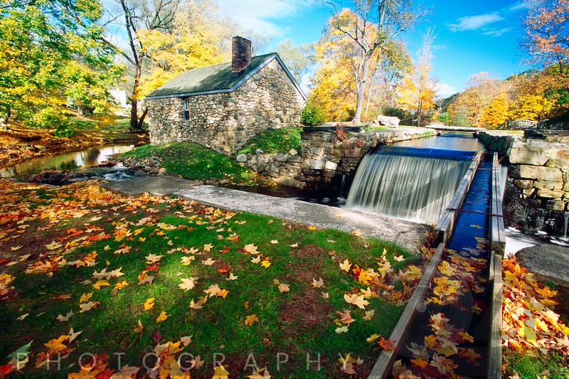 Ironsmith Hut and creek, Waterloo Village at Fall, Newton, New Jersey