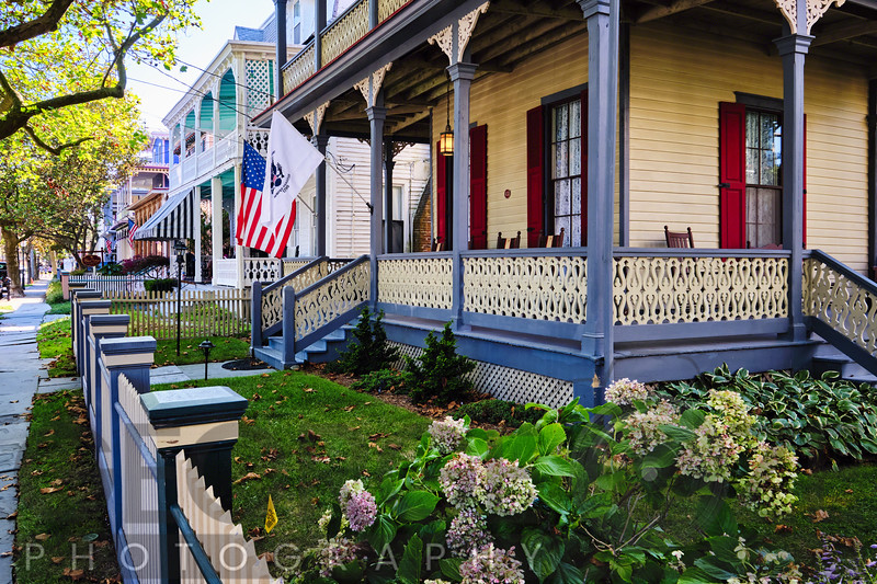 Street with Victorian Style Houses w Cape May, New Jersey