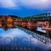 Autumn Evening View of the New Hope-Lambertville Bridge Spanning the Delaware River , New Hope, Pennsylvania