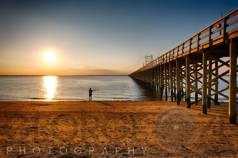 Wooden Pier Perspective at Sunset, Keansburg, New Jersey, USA