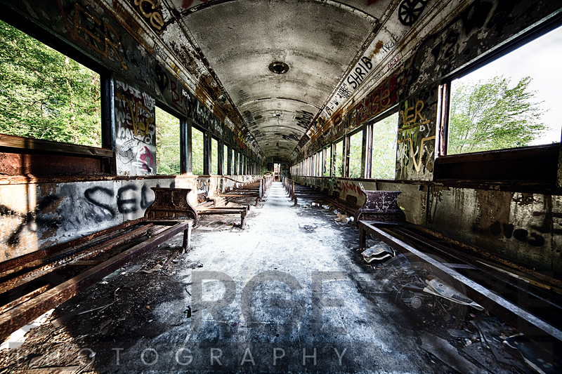 Interior View of a Dilapidated Rail Car