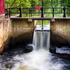 Canal Lock and Rushing Water