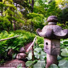 Japanese Garden Path With a Stone Lantern at Spring