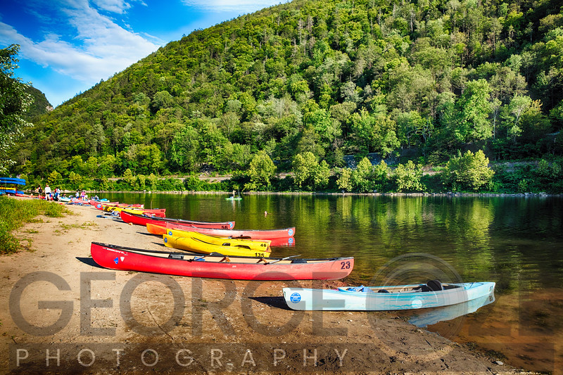 Summer Scenic of the Delaware River with Kayaks and Canoes