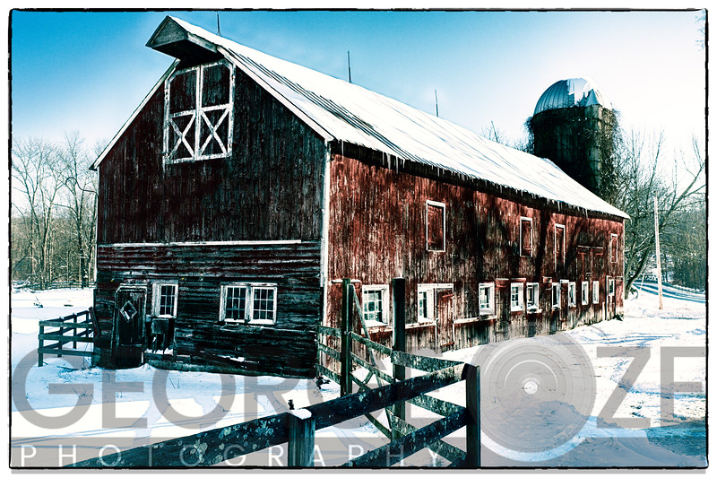 Vintage Farm Building During Winter, Hunterdon County, New Jersey