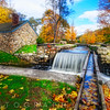 Fall Scenic  View of Stone House with a Creek, Waterloo Village, Stanhope, New Jersey